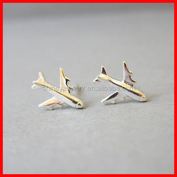2017 925 Sterling Silver Jewelry Whole Plain Airplane Earring