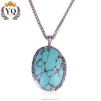PYQ-00288 chain silver natural round turquoise necklace pendant stone