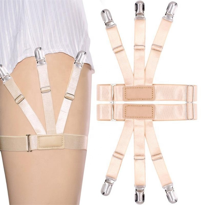 Men's Suspenders Unisex Anti-wrinkle Shirt Stays Holder Leg Elastic Girdle Shirt Crease-resistant Thigh Ring Nylon Suspender Shirt Garters Quality And Quantity Assured Men's Accessories