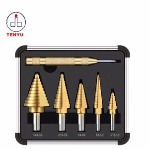 5Pcs Inch Sizes Conical Hex Shank Spiral Flutes Stepped Titanium HSS Step Drill Bit Set for Multiple Hole Steel Metal Cutter