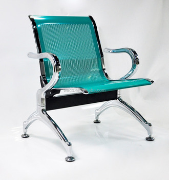 Airport Bus Station Office Green Color Mesh Metal Waiting Chair Bench