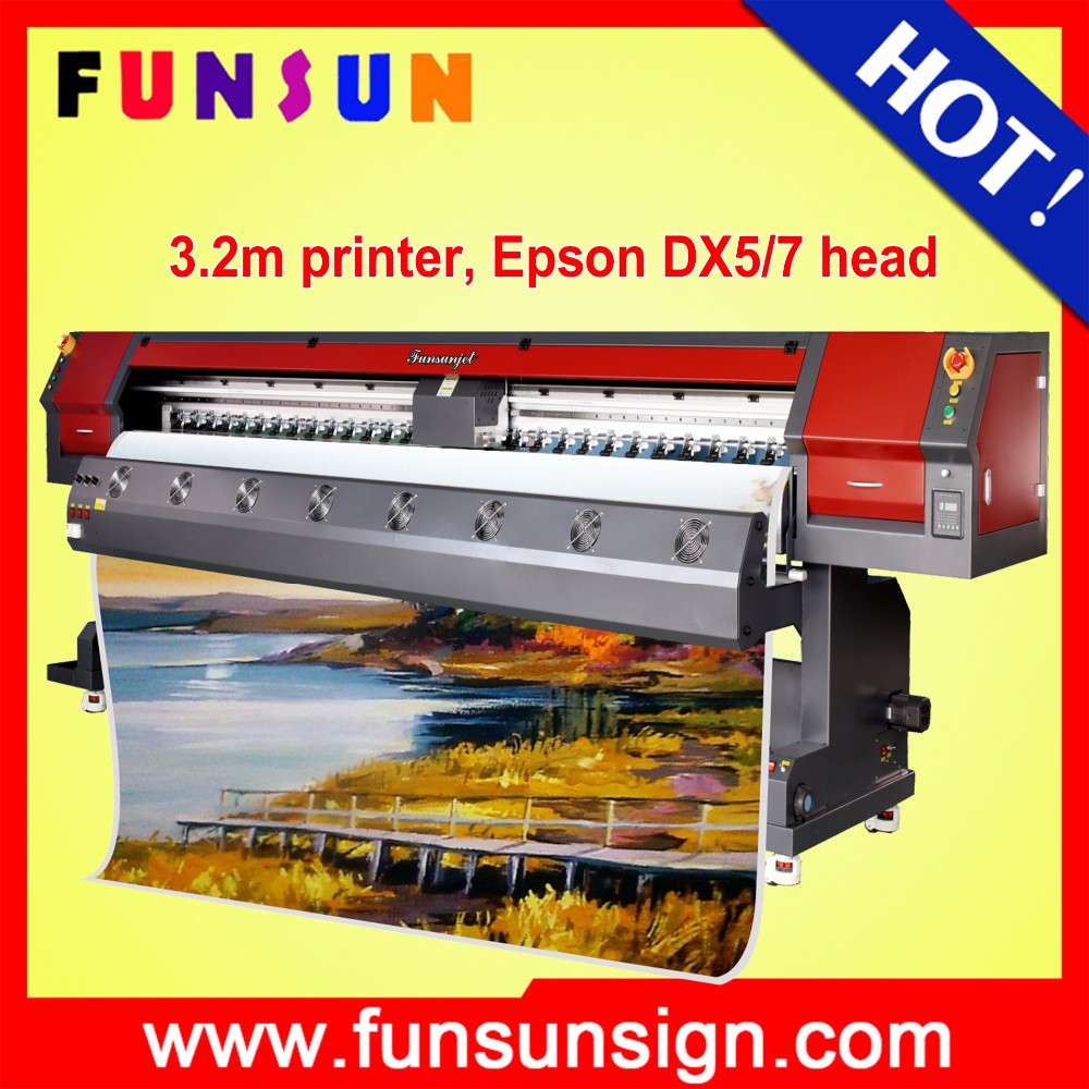 Hot selling Funsunjet FS-3202M 10ft 3.2m used sublimation printers with two dx5 heads for banner sticker one way vision