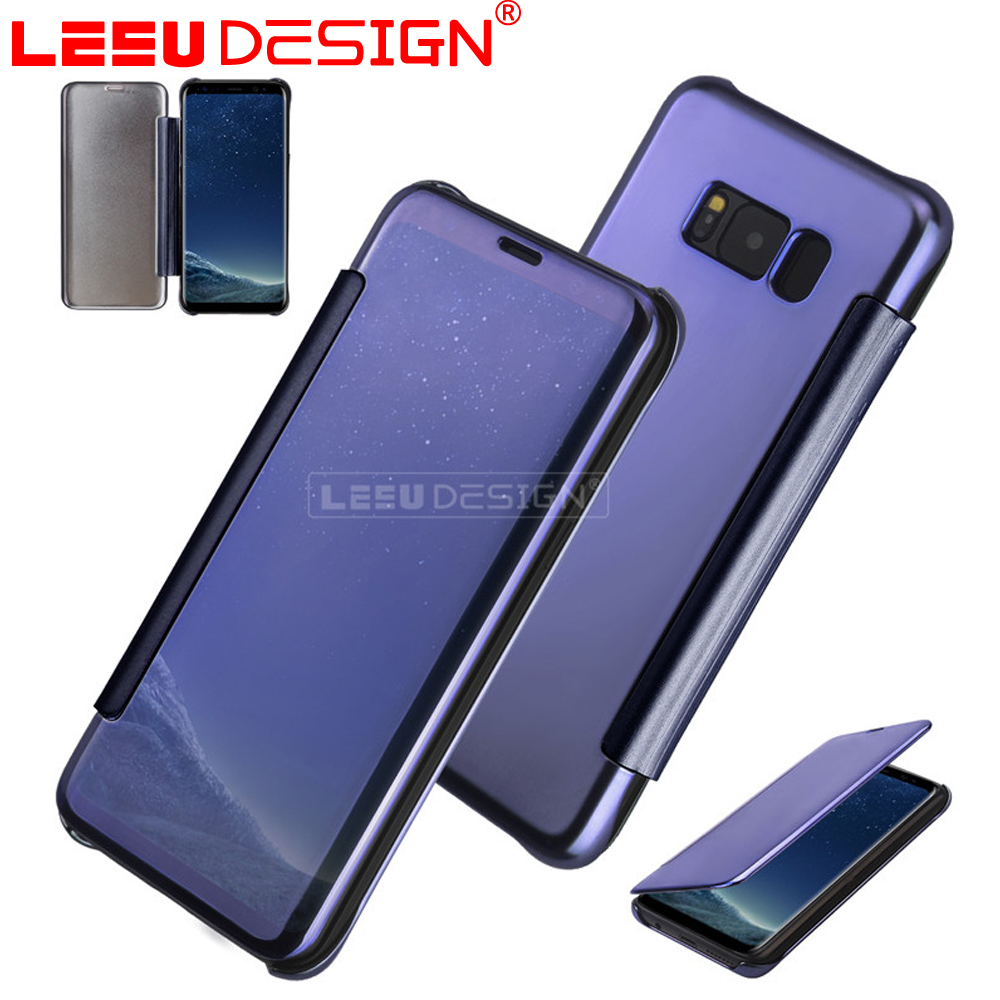 Clear view PC + PU leather mirror cell phone cover mirror flip case for samsung galaxy S8