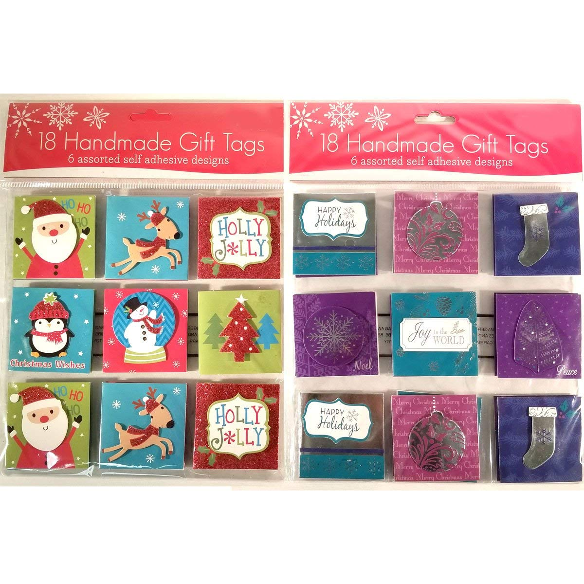 36 Handmade Gift Tags (Christmas 03: Red, Green, Teal & Purple)