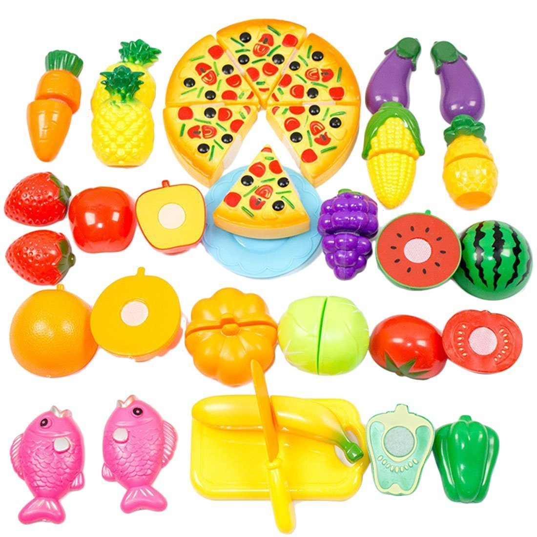 2665ac877b35 Play Food Set for Kids    Toy Food for Pretend Play - Huge 125 Piece ...