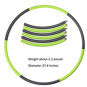 Weighted Hula Hoop for Fitness and Workout, 1.8lb Exercise, Hot Fitness Workouts and Lose Weight.6-segmented, Lightweight Metal Construction ABS Foam Padded Workout for Adults and Kids.