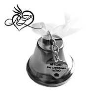 "Christmas Bell Ornament, ""All I Want For Christmas Is You"" Heart Stainless Steel Charm, Christmas Gift"