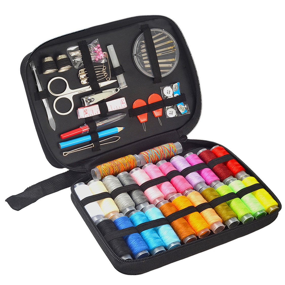 Sewing Kit - Over 100 DIY Sewing Supplies & 24 Mixed Color Threads, Portable & Complete Sew Kit for Traveller, Beginner, Emergency - Filled with Mending Tools and Sewing Accessories