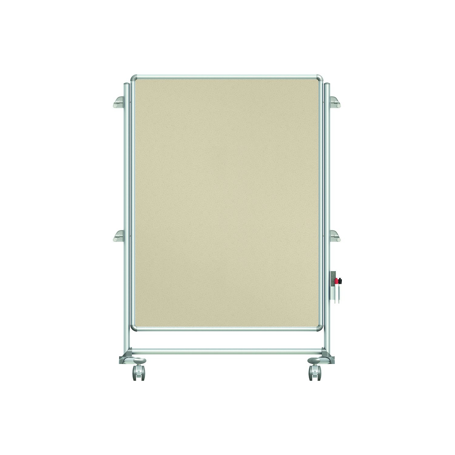 "Ghent 57-3/8"" x 40-3/8"" Nexus Jr. Partition Mobile Fabric Bulletin Board, Double-Sided, Beige (NEX223FFP-90)"