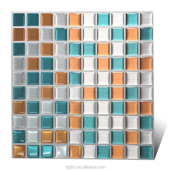 "Wootile 9*9"" High Quality Anti-mold Peel and Stick Wall Tiles in Square Metal Wire Drawing Effect"