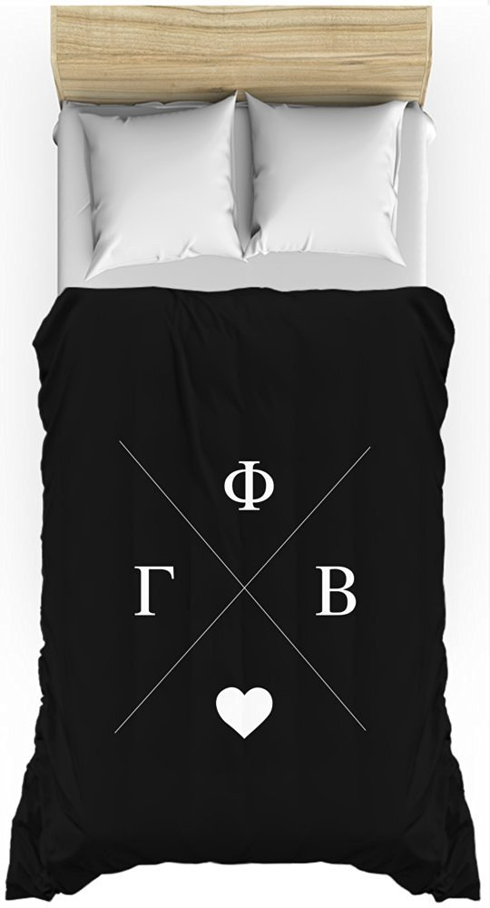 Gamma Phi Beta Hipster Logo Black Lightweight Duvet Cover for Twin Bed