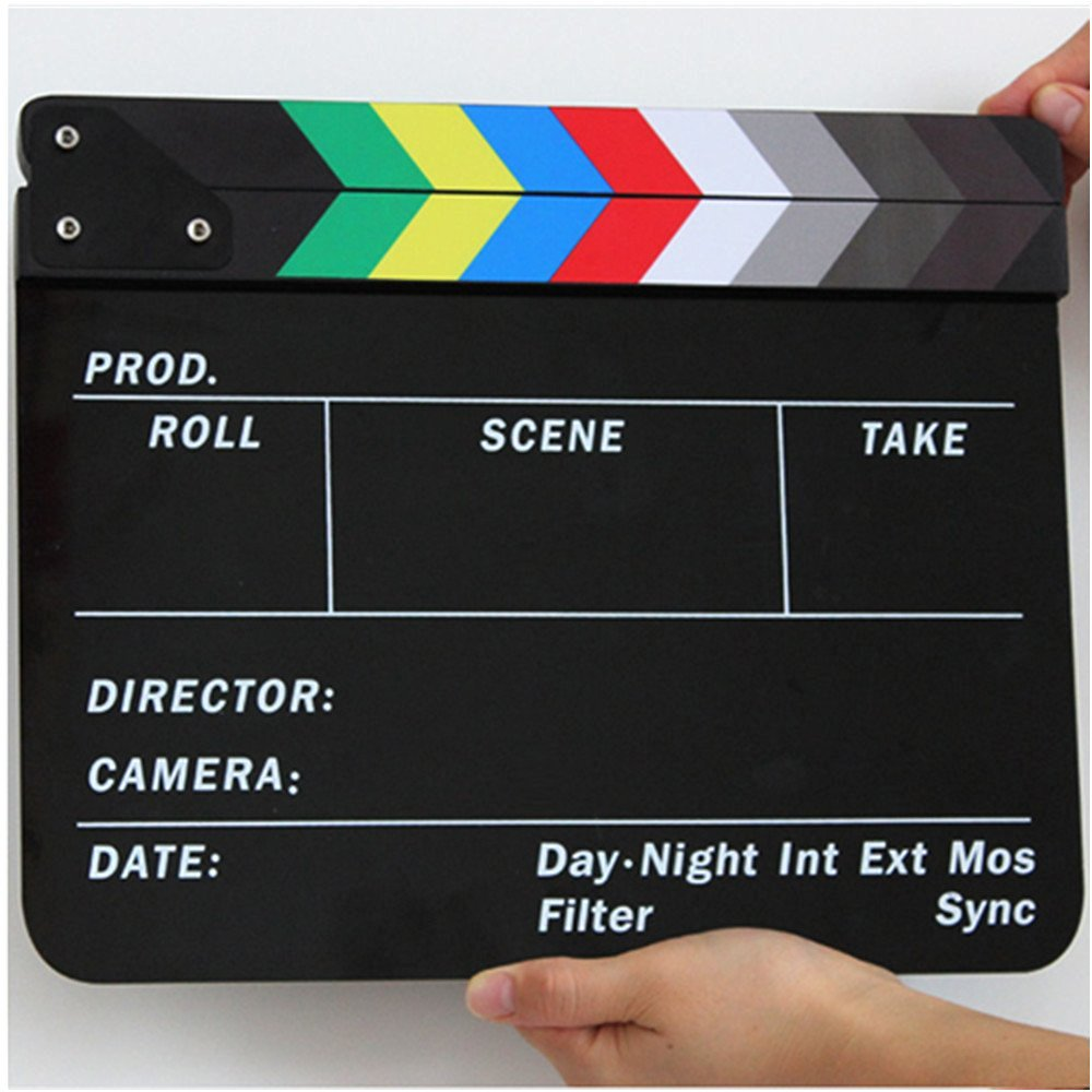 Movie Slate, Playing Board Clapper, Acrylic Clapperboard, Movie Clapper Dry Erase Director's Film Clapboard Cut Action Scene Clapper Board Slate (Multicolor)