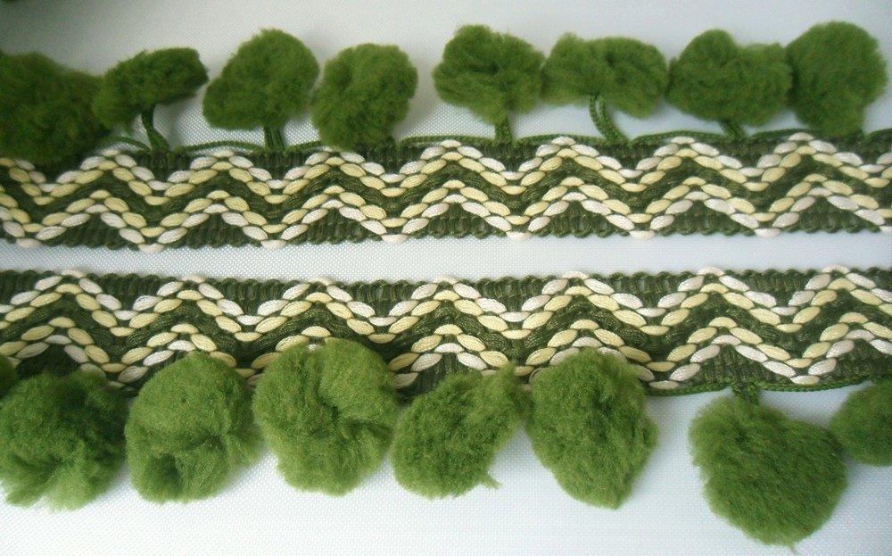 Zigzag Burgundy Pom Pom Fringe Puff Trim Lace Braid Sewing Supplies Ruffle Tape