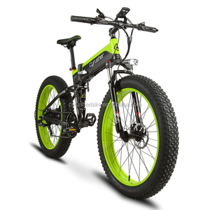 Cyrusher XF690 Folding Fat Tire eBike 500W 48V Electric Bike 7 Speeds Full Suspension 5 Setting Bike Computer Hydraulic Brake
