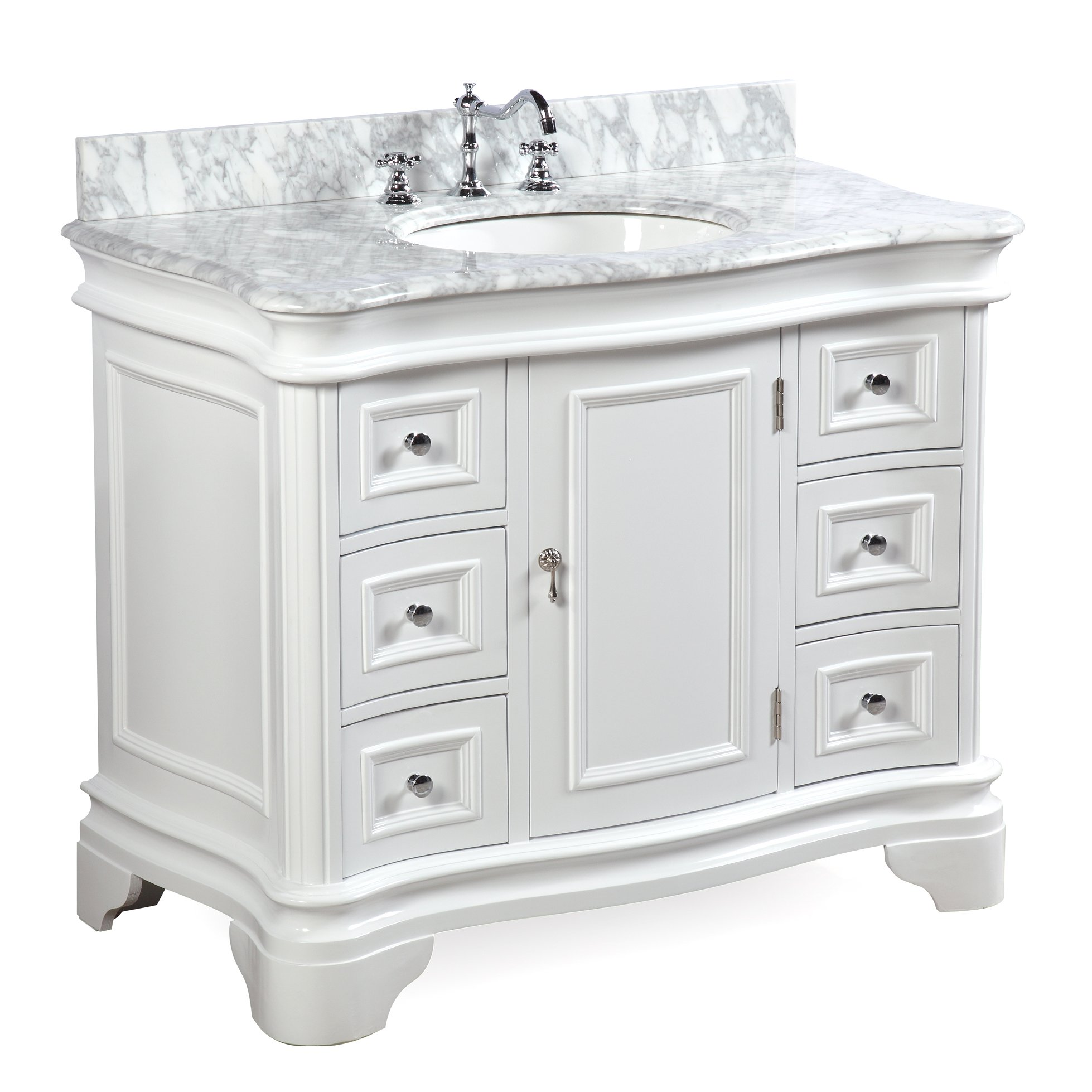 0931097bff2 Get Quotations · Katherine 42-inch Bathroom Vanity (Carrara White)  Includes  White Cabinet with