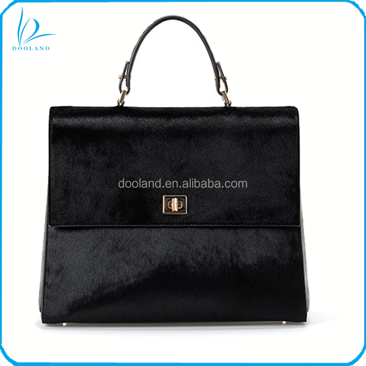 Brand new design office lady genuine cowhide calf hair handbag tote bag
