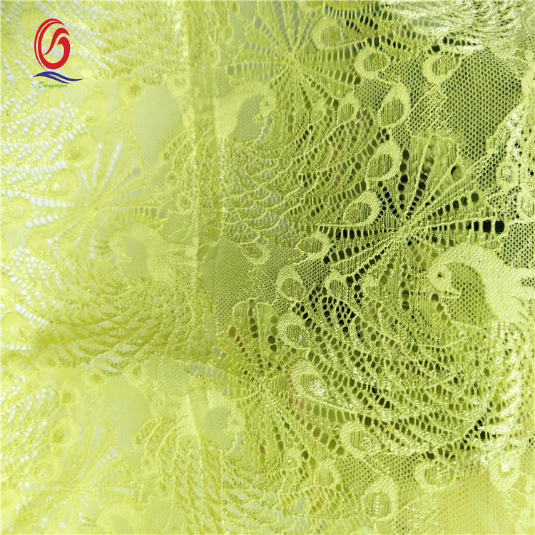 Fasion design high quality nylon 90% spandex10% yellow elastic peacocks flower lace for underwear