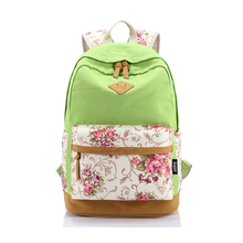 Ethnic style printing female back packs high quality eco-friendly canvas women hemp backpack flower