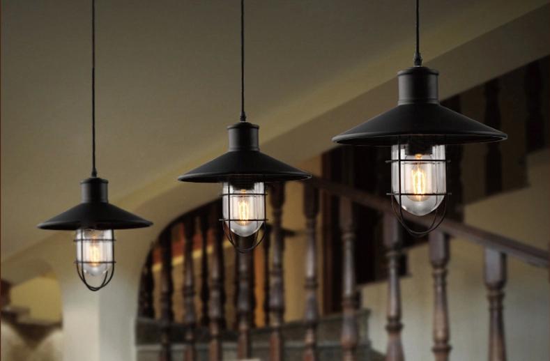 vintage american loft light retro matte black officer capshape glass singlehead industrial