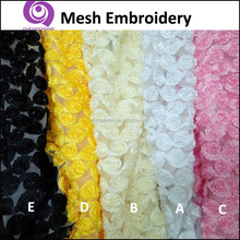 Factory Wholesale Fancy 100% Polyester Mesh Ribbon Embroidery (EMB) Fabric