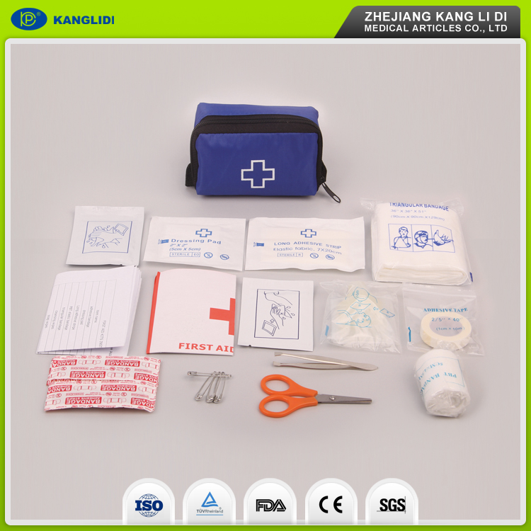 KLIDI Wenzhou Manufacturer Supply Hotel Used Mini First Aid Kit Bags 100 Pieces For Wholesales