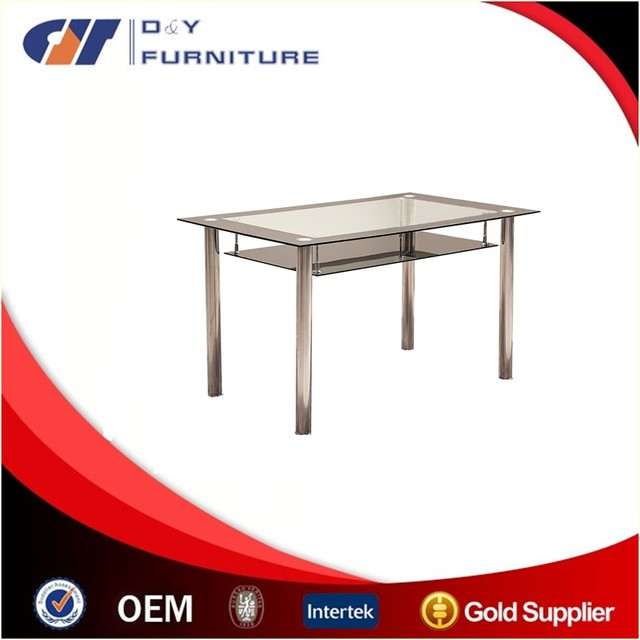 2017 new design glass table with stainless steel base