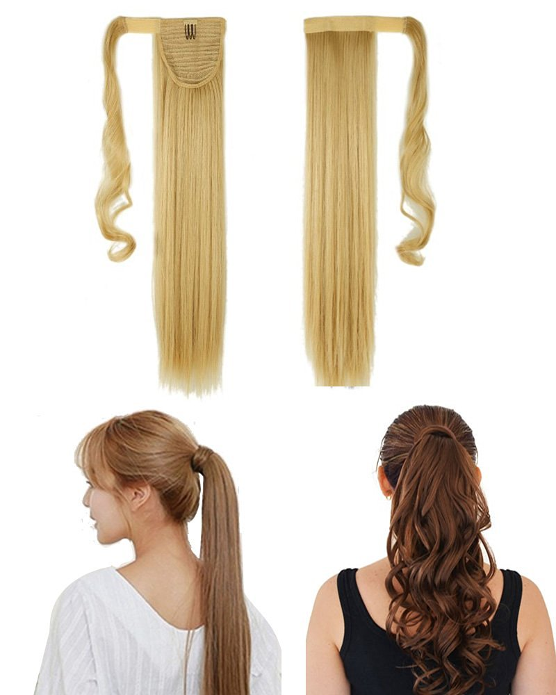 """S-noilite Many Colors 17 23 Inches Straight Curly Wavy Wrap Around on Ponytail Clip in Hair Extensions Hairpiece Pony Tail (17""""-curly, Baby Blonde Mix Bleach Blonde)"""