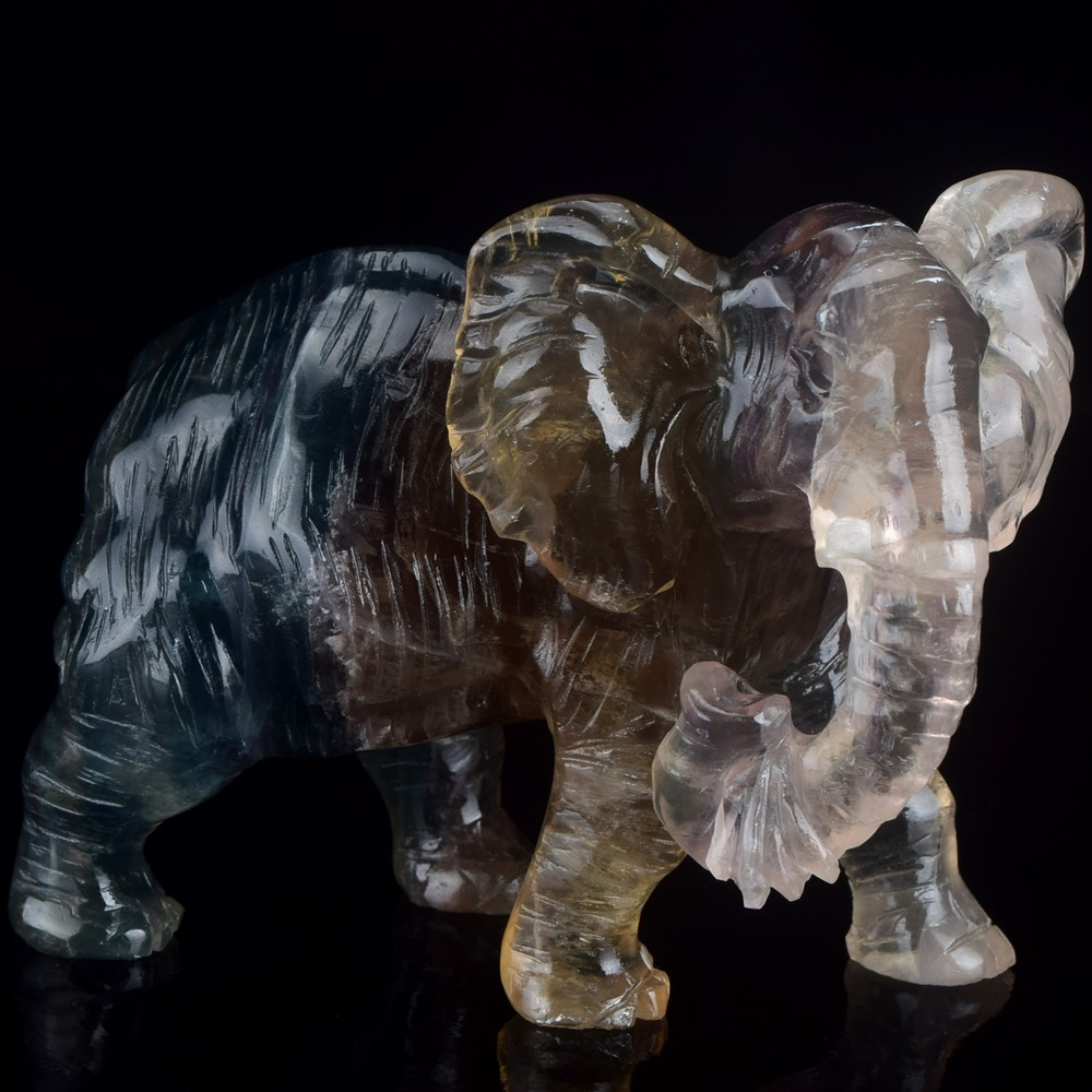 4' natural fluorite carved stone elephant crystal craft gifts