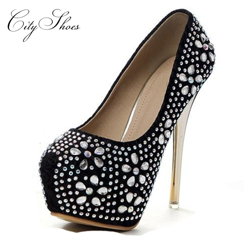 Women Black Apricot Red Pumps 2015 new Ladies sexy high thin heel Platforms Rhinestone waterproof Shallow Round toe woman shoes