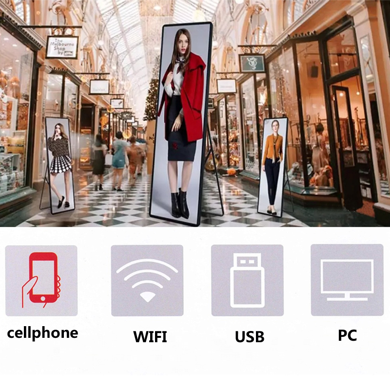 Smart control wifi usb P2.5 indoor smd full color poster digital advertising banner mirror led video display  Iposter screen