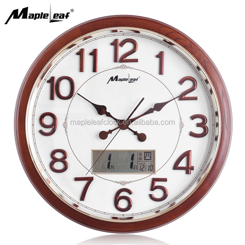 Quartz Analog Big Digital Numerals Wooden Round Wall Clock