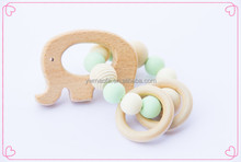 Wholesales Baby Wooden Teething Toys Infant Cute Animal Shaped Chewing Teether