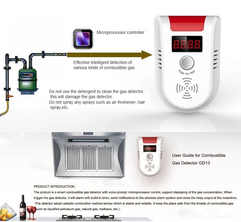 Wireless/wired Kitchen Gas Detector Price (kr-gd13)