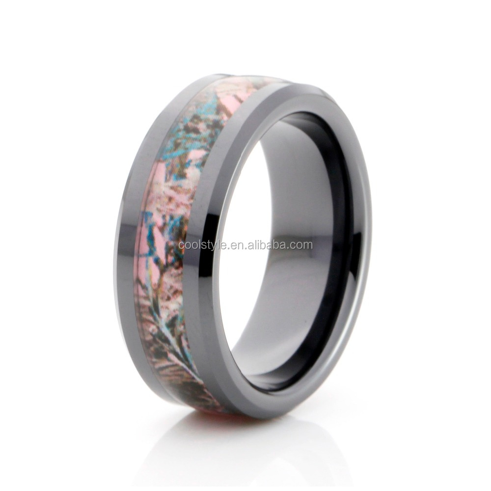 pink tree camo inlay men's black ceramic ring high polished comfort fit