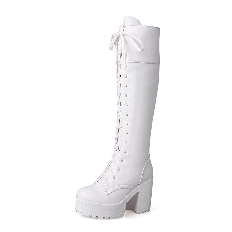 b655fee8efc39 Buy Lucksender Womens Lace Up Platform Combat Chunky Heel Martin ...