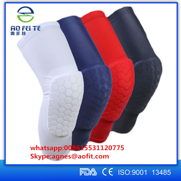 2017 Aofeite Company New black quick dry compression volleyball knee pads for basketball