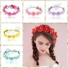 Charming daisy flower hair band garland flower crown headpiece