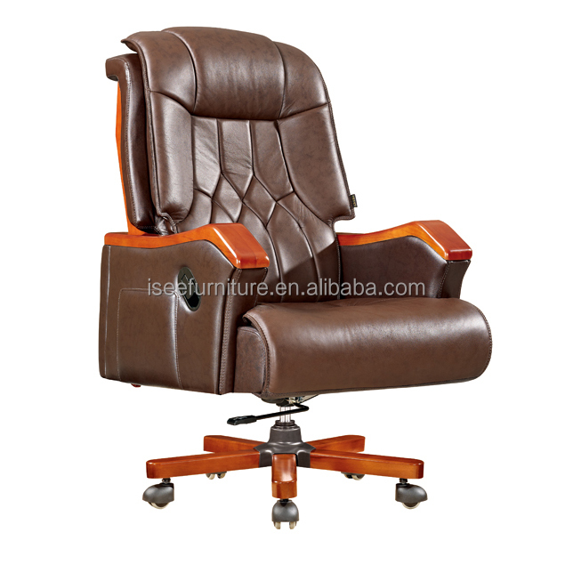 wooden high back brown leather big office boss chair ih039 buy