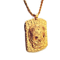 Vintage Men's Engraved Stainless Steel 24K Gold Hip Hop Skull Pendant