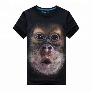 Free Sample Custom Short Sleeve Cotton T Shirt 3D Animal Print Men's Sublimation T-shirt