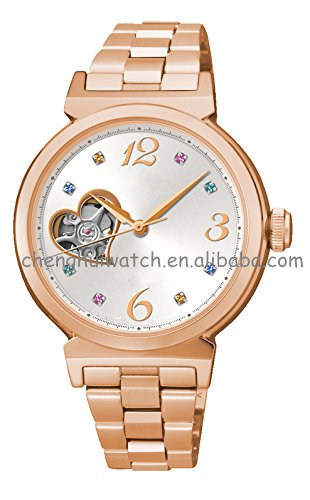 Classic Lady Women'S Skeleton Automatic Mechanical Watch Stainless Steel Band
