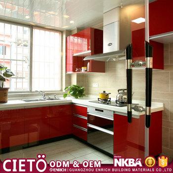Modular Home Daycare Furniture Wine Red Color Design Laminate New Model  Kitchen Cabinet