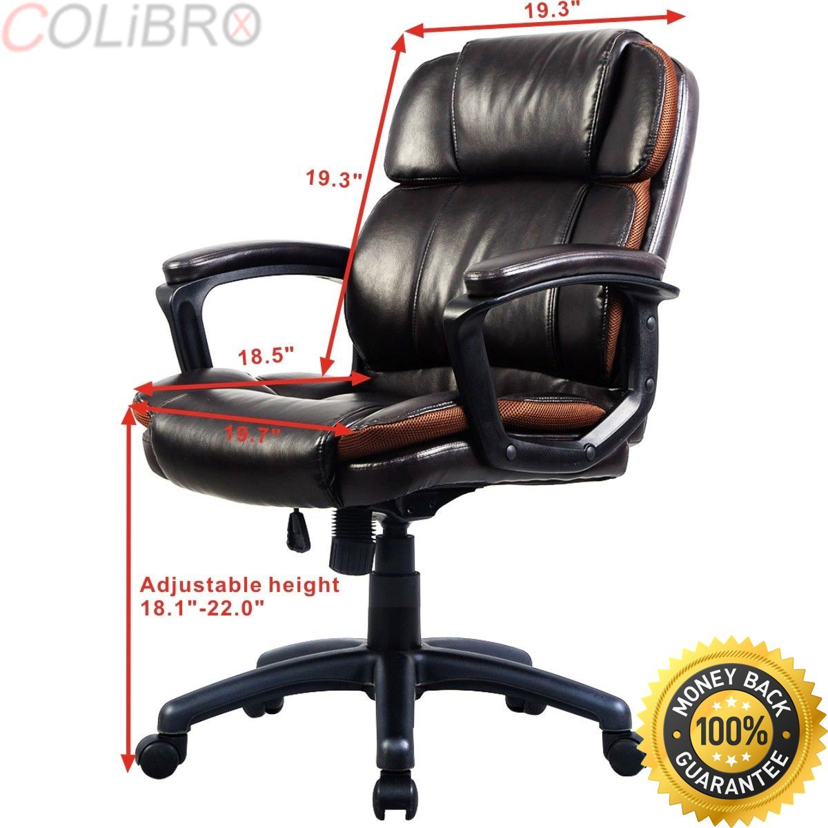 COLIBROX--Ergonomic PU Leather Mid-Back Executive Computer Desk Task Office Chair New.bestoffice ergonomic pu leather high back office chair.high back executive chair with headrest.high back computer.