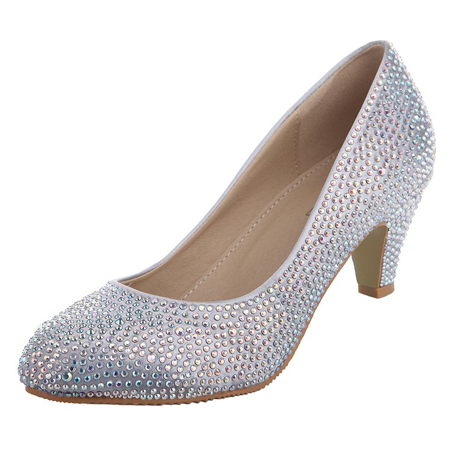 Get Quotations · VELCANS Women s Silver Glitzy Rhinestone Wedding and Prom  Heels Pumps Shoes (Silver High Heel  1578a0fecc