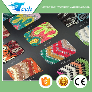 Beautiful and colorful design glitter lace fabric for shoes making