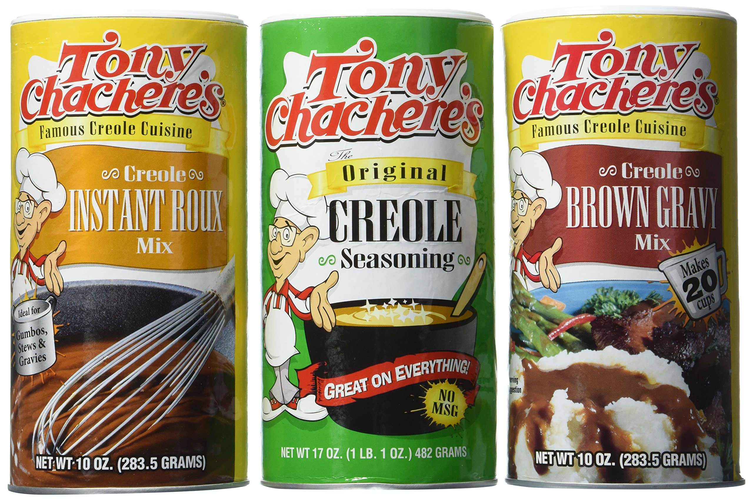 Tony Chachere's Famous Creole Cuisine Seasoning and Mix 3 Flavor Variety Bundle: (1) Tony Chachere's Original Creole Seasoning, 17 oz., (1) Tony Chachere's Creole Instant Roux Mix, 10 Oz., and (1) Tony Chachere's Creole Brown Gravy Mix, 10 Oz.