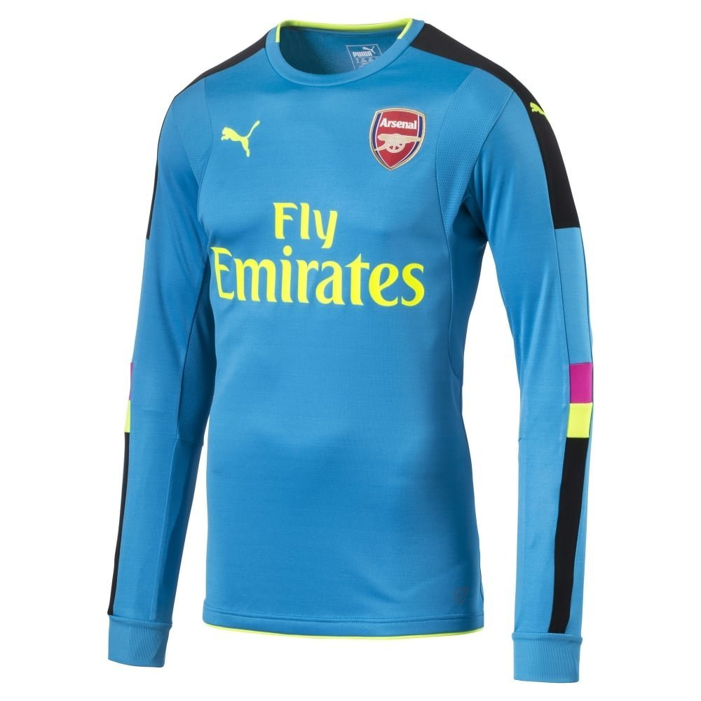 5d4702c1c69 Get Quotations · 2016-2017 Arsenal Puma Away LS Goalkeeper Shirt (Blue) -  Kids