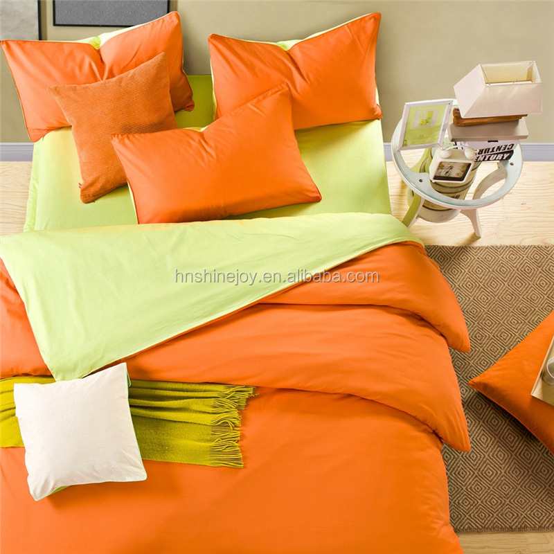 high count and high density orange and yellow bedding set solid color duvet cover