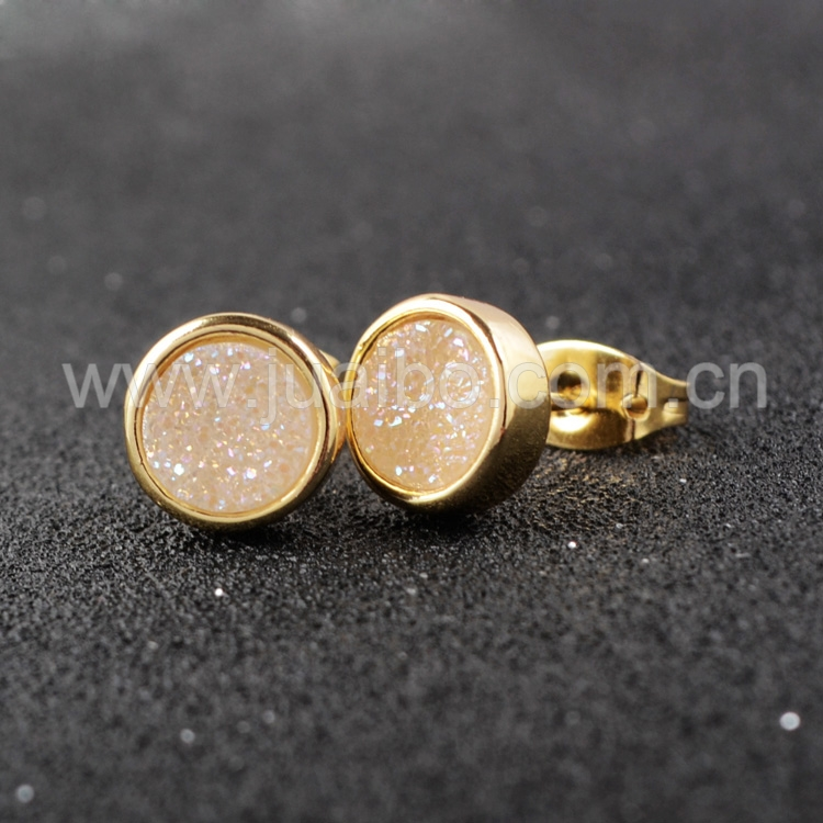 earrings rose flat gold ball stud