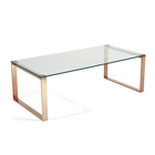 Wholesale stainless steel metal tempered glass tea table coffee table modern in rose gold color